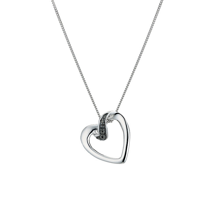 9ct white gold black treated diamond edge heart pendant - Product number 9271392