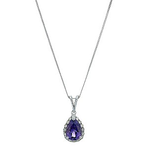 9ct white gold pear shape amethyst & diamond pendant - Product number 9271422