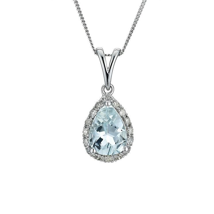 9ct white gold aquamarine pendant - Product number 9271430