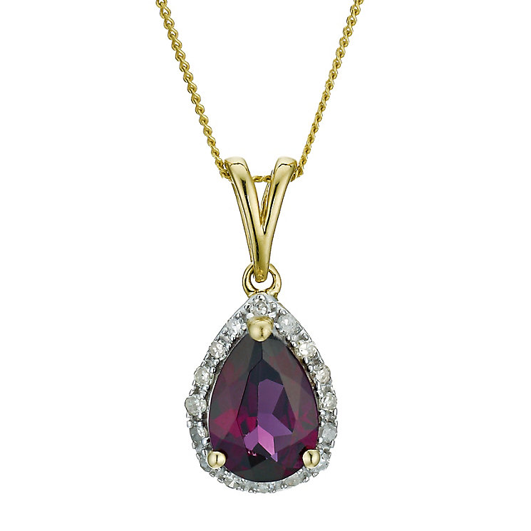 9ct yellow gold diamond & garnet pendant - Product number 9271503
