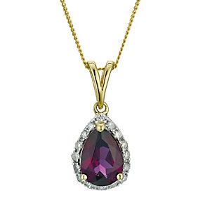 9ct yellow gold diamond & garnet pendant - Product number 9271503