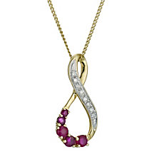 9ct yellow gold figure of 8 ruby & diamond pendant - Product number 9271538