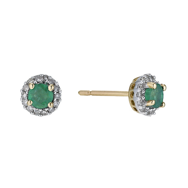 9ct yellow gold emerald & diamond stud earrings - Product number 9271570