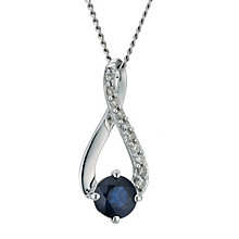 9ct white gold diamond & sapphire crossover pendant - Product number 9271910