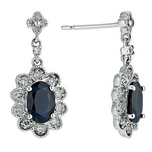 9ct white gold diamond & sapphire earrings - Product number 9271996