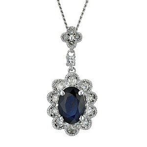 9ct white gold sapphire pendant - Product number 9272011