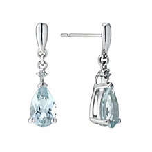 9ct white gold aquamarine & diamond drop earrings - Product number 9272135