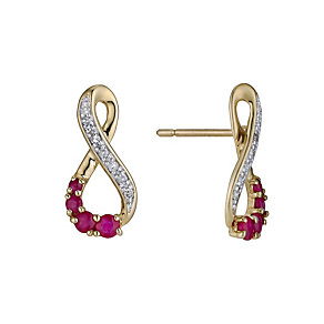 9ct yellow gold figure of 8 ruby & diamond earrings - Product number 9272283