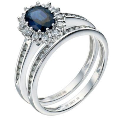 18ct white gold sapphire diamond bridal set Ernest Jones