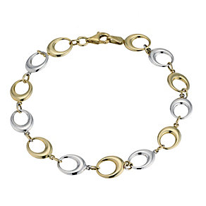 "9ct two colour gold oval link 7.5"" bracelet - Product number 9273077"