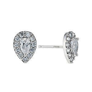 9ct white gold cubic zirconia cluster stud earrings - Product number 9273107