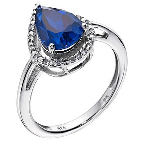 9ct white gold pear shape created sapphire & diamond ring - Product number 9274030