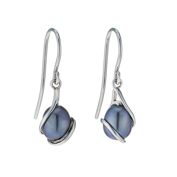 9ct white gold black coloured pearl earrings - Product number 9274219