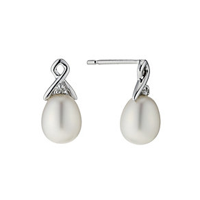 9ct white gold  diamond & pearl open earrings - Product number 9274243