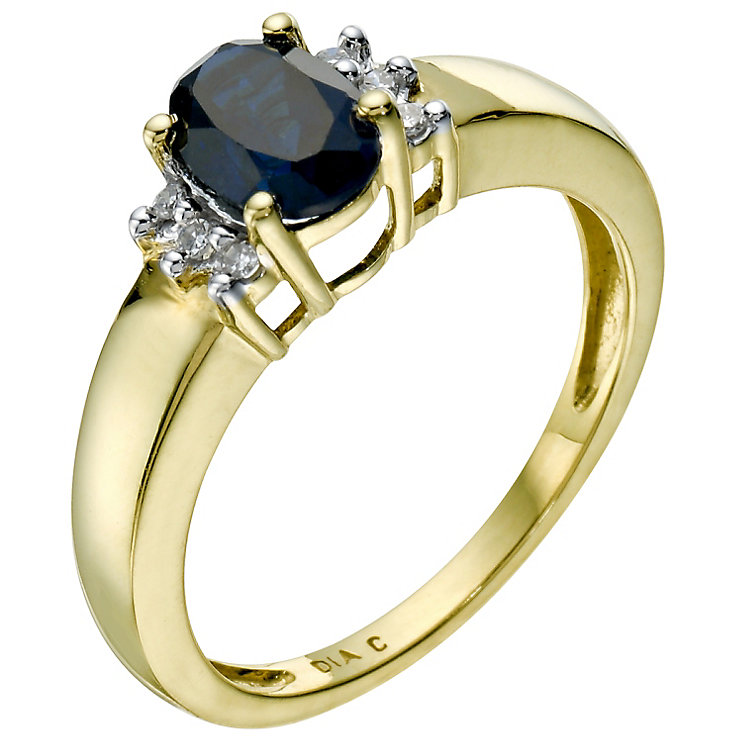 18ct yellow gold created sapphire & diamond ring - Product number 9274464