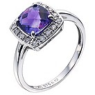 9ct white gold square amethyst & diamond set ring - Product number 9274677