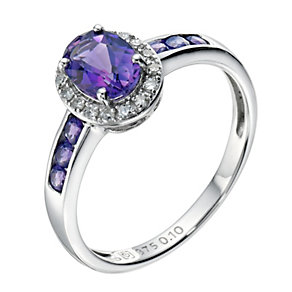 9ct white gold oval amethyst & diamond set ring - Product number 9274820