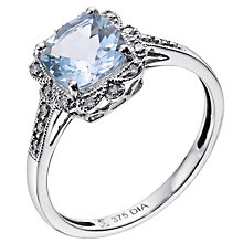 9ct white gold vintage style diamond & aquamarine ring - Product number 9274960