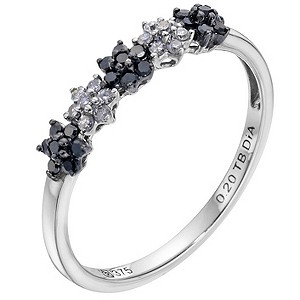 9ct white gold white & treated black diamond flower ring - Product number 9275142