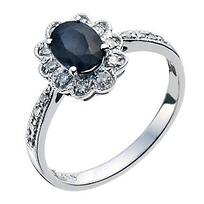 18ct white gold sapphire & diamond ring - Product number 9275649