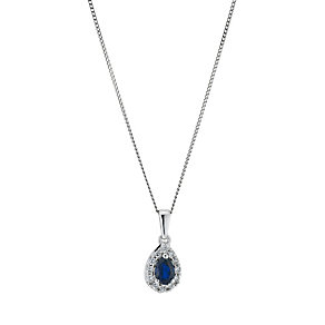 9ct white gold created sapphire & cubic zirconia pendant - Product number 9275894