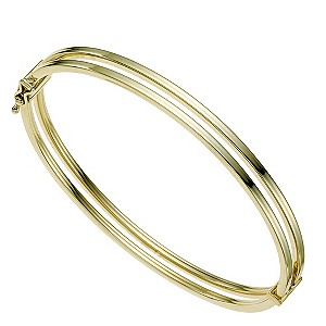 9ct yellow gold double bar hinged bangle - Product number 9276289
