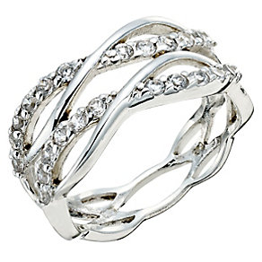 Silver & Cubic Zirconia Weave Ring - Product number 9276602