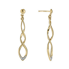 9ct yellow gold diamond drop earrings - Product number 9276696