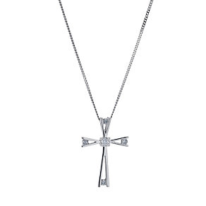 9ct white gold diamond cross pendant - Product number 9276718