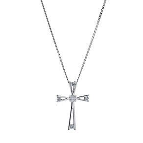 9ct white gold diamond cross pendant - Product number 9276718
