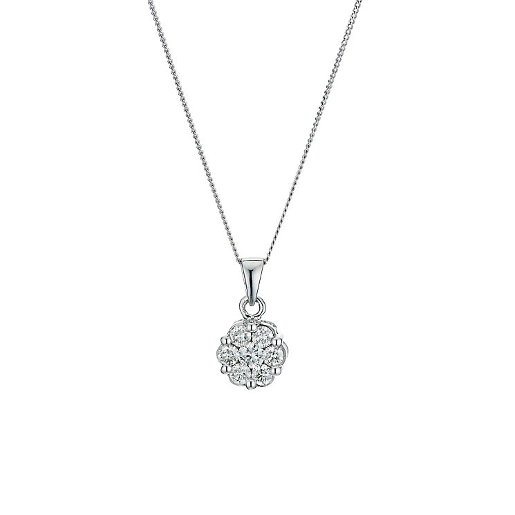 9ct  white gold 0.50ct diamond cluster pendant - Product number 9276785