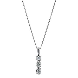 9ct white gold 0.25 carat diamond trilogy pendant - Product number 9276882