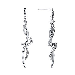 9ct white gold 20pt diamond swirl drop earrings - Product number 9276963