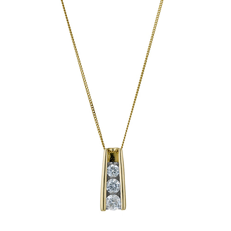 9ct yellow gold 33pt diamond trilogy pendant - Product number 9277013