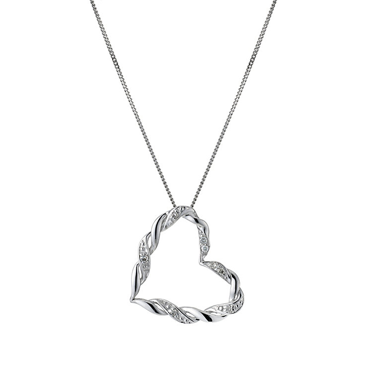 9ct white gold diamond heart pendant - Product number 9277048