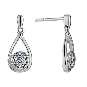 9ct white gold diamond cluster drop earrings - Product number 9277102