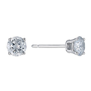 9ct white gold 0.66ct diamond solitaire earrings - Product number 9277218