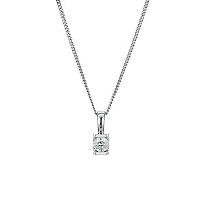 9ct white gold bar set diamond solitaire pendant - Product number 9277250