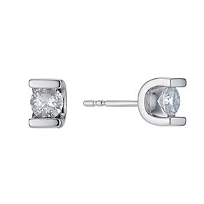 9ct white gold 0.66ct diamond bar solitaire earrings - Product number 9277269