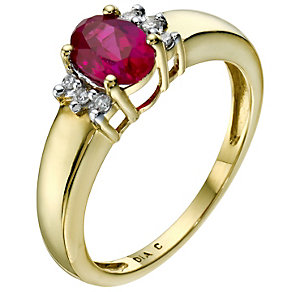 18ct yellow gold created ruby & diamond ring - Product number 9277404