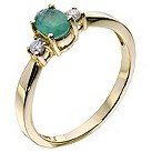 9ct yellow gold emerald & diamond ring - Product number 9277692