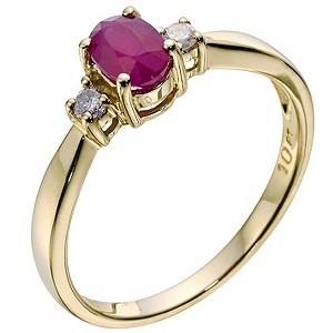 9ct yellow gold treated ruby & diamond ring - Product number 9277854