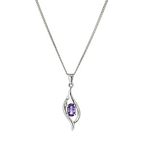 Viva Colour Silver & Oval Amethyst Flame Pendant - Product number 9278265