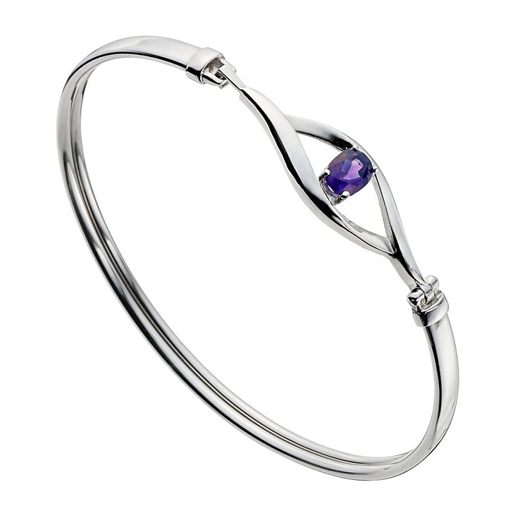Viva Colour Silver & Amethyst Stone Set Bangle - Product number 9278311