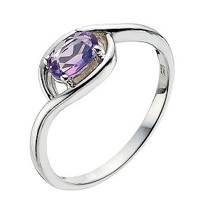 Viva Colour Silver & Amethyst Wrap Ring Size L - Product number 9278389