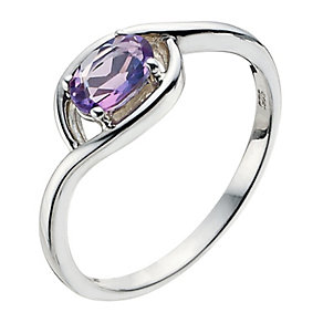 Viva Colour Silver & Amethyst Wrap Ring Size P - Product number 9278400