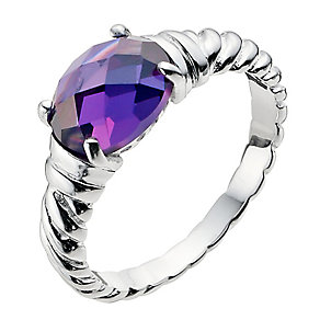 Viva Colour Silver Purple Cubic Zirconia Ring - Size N - Product number 9279598