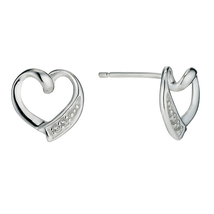 Silver Cubic Zirconia Heart Earrings - Product number 9279806