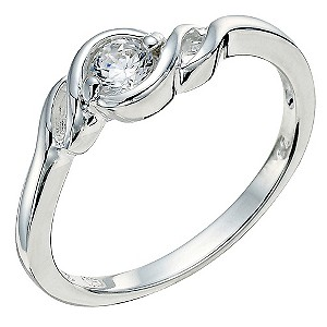 Silver Twist Cubic Zirconia Ring Size P - Product number 9280006