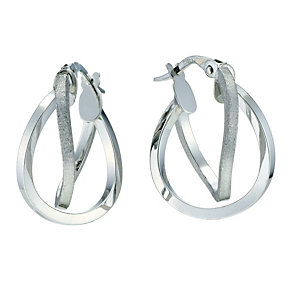 9ct white gold 15mm double creole earrings - Product number 9280243